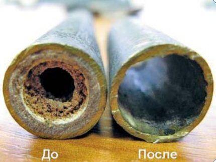 Трубы до и после химической чистки