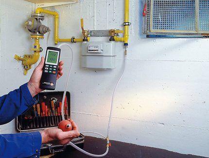 Проверка утечки газа в газопроводе
