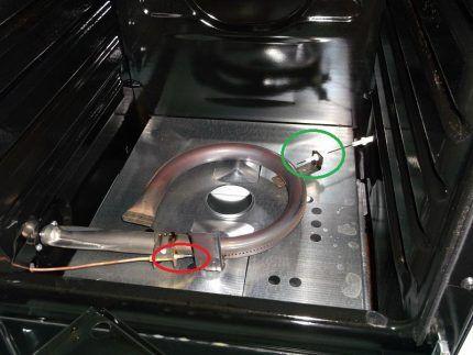 Электроподжиг и термопара горелки