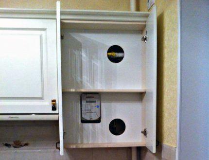 Установка газового счетчика в шкаф с двойным дном