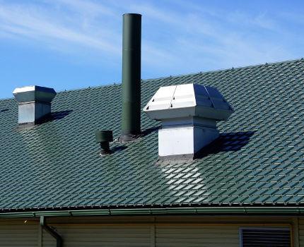 Крышные вентиляторы на скатной кровле