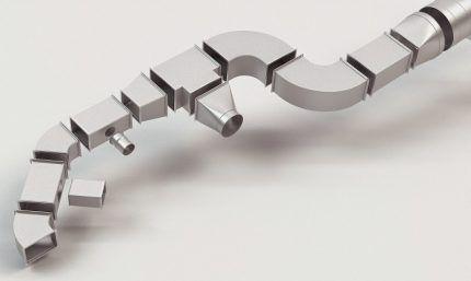 Элементы для сборки пластиковых воздуховодов