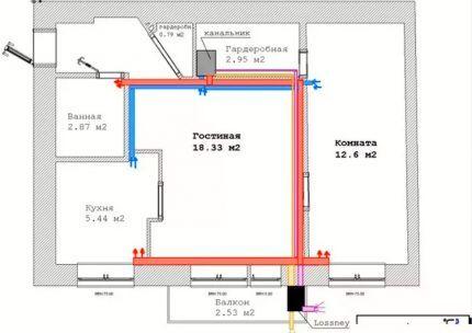 План дома для расчетов воздухообмена