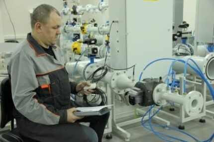 Проверка счетчика газа на заводе