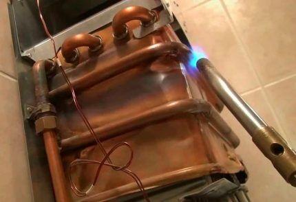 Пайка медного теплообменника газового котла