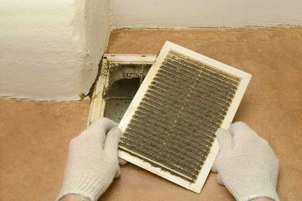 Извлечение вентрешетки для последующей чистки
