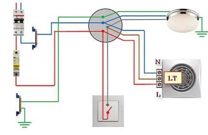Схема подключения вентилятора с таймером к одноклавишному выключателю