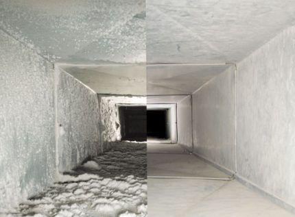 Сравнение воздуховода до и после чистки