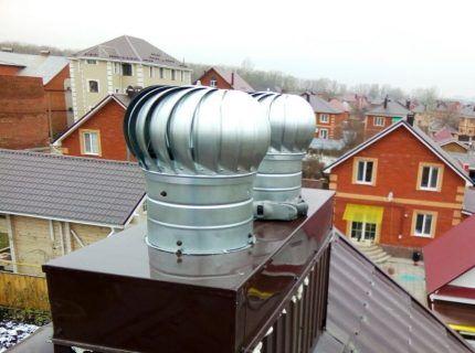 Турбинные дефлекторы на вентиляционной шахте