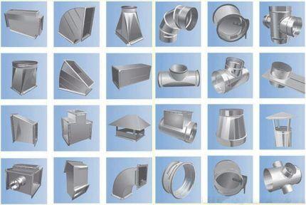 Элементы для сборки и обустройства вентиляции