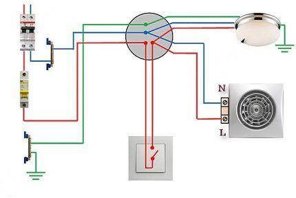 Схема подключения вентилятора и лампочки к одноклавишному выключателю