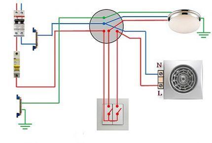 Схема подключения 2-клавишного выключателя к вентилятору