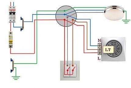 Схема подключения вентилятора с таймером к 2-клавишному выключателю