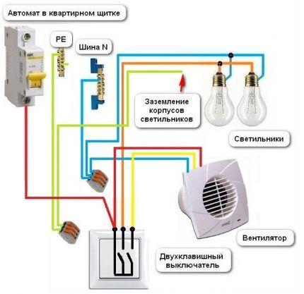 Подключение вентилятора в подрозетнике