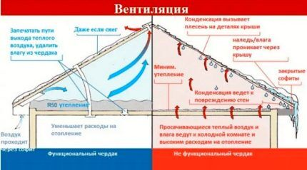 Схема организации вентиляции чердака