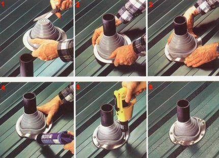 Шаги установки флешь мастера на вентиляцию