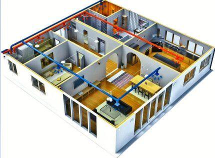 Макет дома с запроектированной вентиляцией