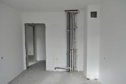 Расположение короба вентиляционной шахты в квартире