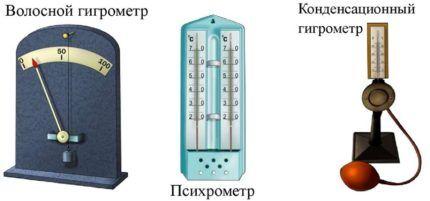 Виды гигрометров
