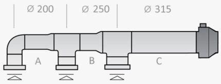 Воздуховод с различным диаметром