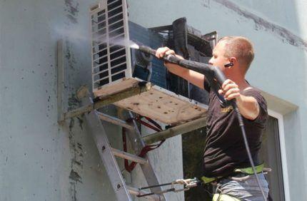 Промывка радиатора внешнего блока кондиционера