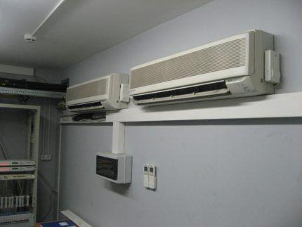 Работа кондиционера в серверной