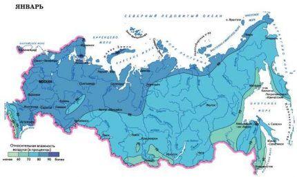 Карта влажности из строительной климатологии