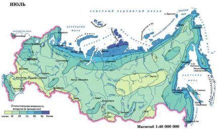 Карта влажности летом