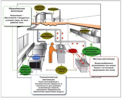Системы вентиляции в пищеблоке