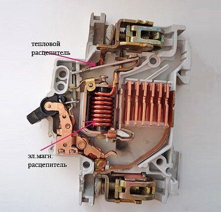 Компоненты автоматического выключателя