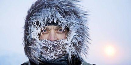 Сильный мороз на улице