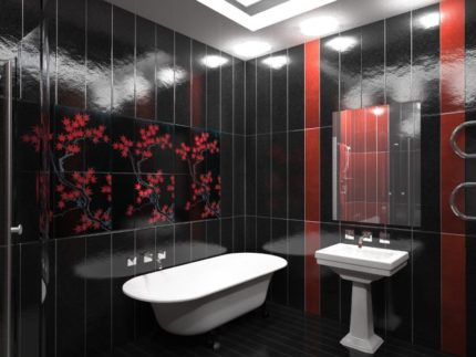 Красно-черная ванная комната из пластиковых панелей