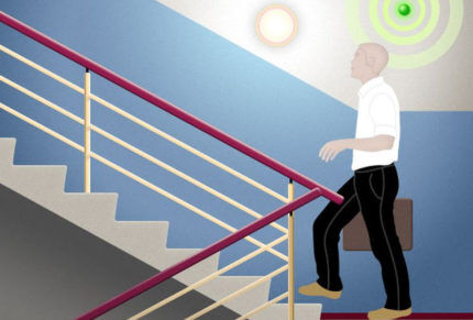 Светильник с датчиком движения на лестничной площадке