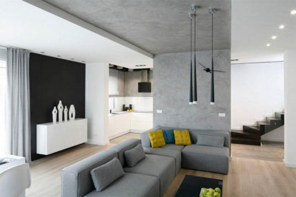 Интерьер с бетонным потолком