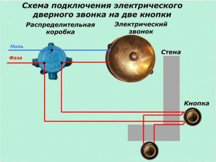 Схема на две кнопки для одного звонка