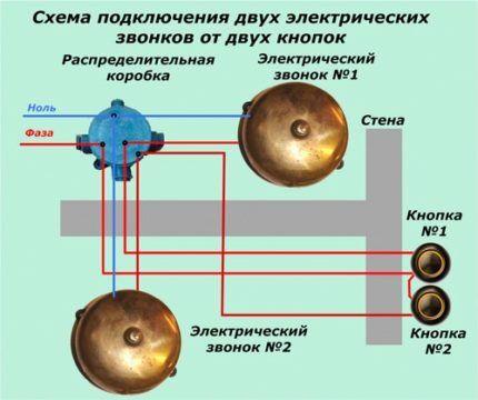 Схема подключения двух звонков к двум кнопкам