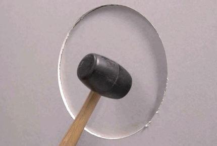 Выбивание вырезанной окружности молотком