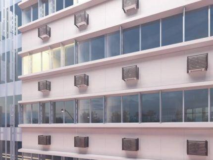 Корзины для кондиционеров на фасаде здания