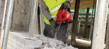 Разрушение бетона перфоратором