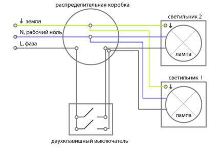 Подключение клавишных выключателей