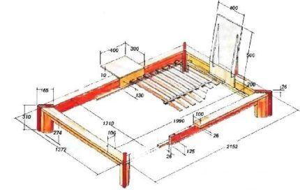 Схема для сооружения кровати
