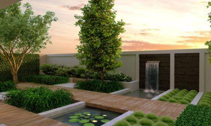 Ландшафтный дизайн с прудом в стиле хай-тек
