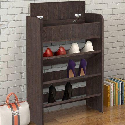 Деревянный мини-шкаф для обуви и шапок
