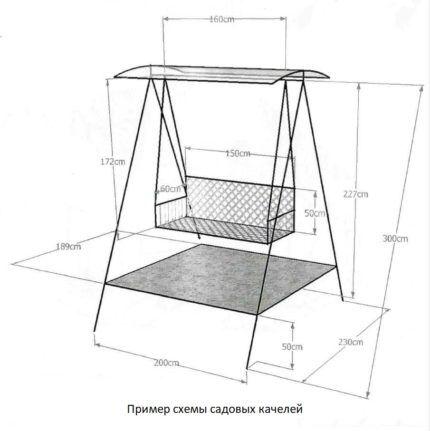 Схема сборки качелей из металла