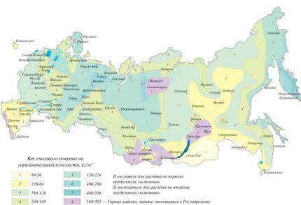 Региональная карта среднегодовой нагрузки