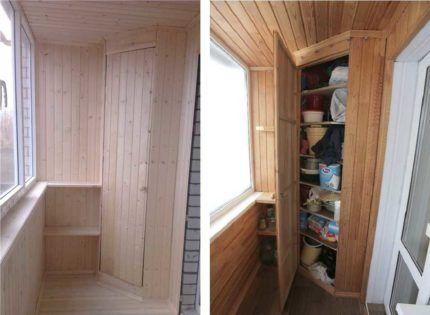 Угловой балконный шкаф