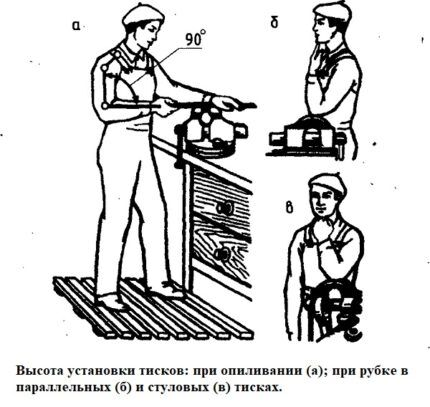 Высота установки тисков