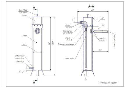 Чертеж дымогенератора из квадратной трубы