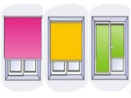 Три варианта размещения рулонных штор