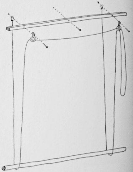 Схема крепления шнура для регулировки штор